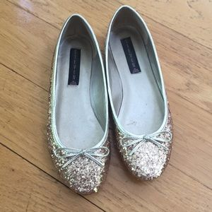 Steven gold sequin ballet flats size 8